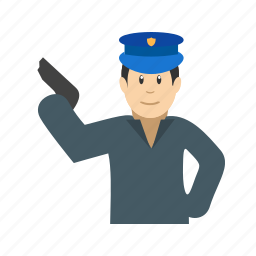 armed, crime, gun, holding, law, officer, police icon