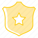 law, police, police badge, police ranking, shield, star badge icon