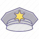 accessory, clothes, hat, police icon