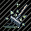 gardening, lawn, rake, tool icon
