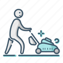 gardening, lawn, man, mower icon