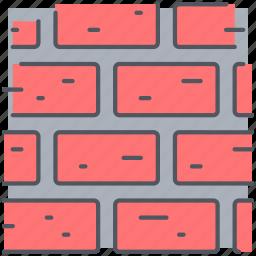 blockade, brick wall, bricks, construction, firewall, protection, wall icon