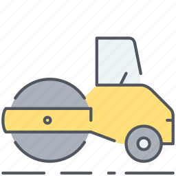 asphalt, builder, construction, roller, rolling, street, vehicle icon