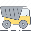 tip-up truck, transportation, truck, vehicle icon
