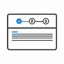 design, layout, number, page, sign in, step, wireframe icon