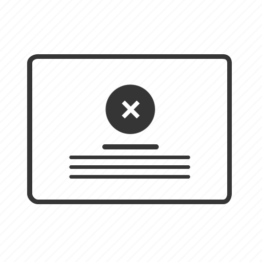 cancle, column, grid, layout, no, website, wireframe icon