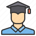 education, graduate, learning, student, teacher icon