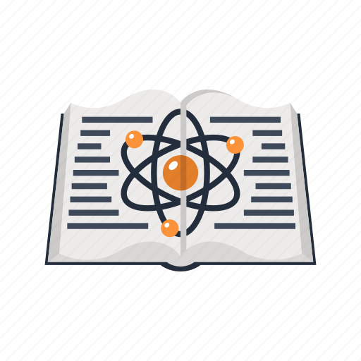 atom, book, education, knowledge, physics, school, science icon