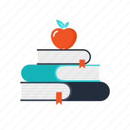 apple, books, bookshelf, education, learning, school, studying icon