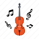 college, education, instrument, music, note, school, violin icon