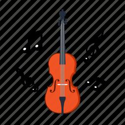 college, education, instrument, music, note, school, violin icon