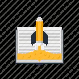 book, education, idea, knowledge, rocket, school, startup icon