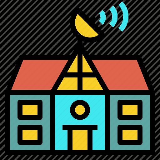 building, network, remote, satellite, school icon