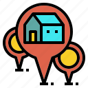 estate, franchise, home, homework, location, real, study icon
