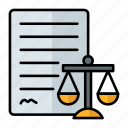 law, paperwork, beam balance, legality, contract, justice icon