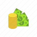 bank, bribe, coins, dollar, investment, law, money icon