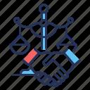 handshake, legal, representation, scales icon