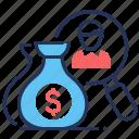 collection, debt, finance, money sacks icon