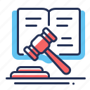 book of oath, court, lawsuits, gavel icon
