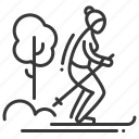 cross country, female, skiing, winter icon