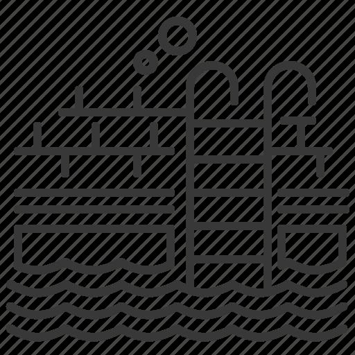 ladder, swimming pool, water, waves icon