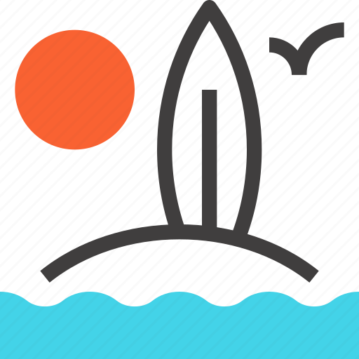 beach, board, leisure, sea, summer, surfboard, surfing icon