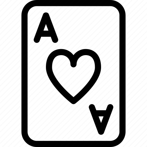 ace, card, entertainment, game, heart icon