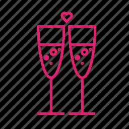 alkohol, champaigne, glass, love, toast, valentines icon