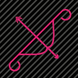 arc, arrow, broken, heart, hunting, love, valentines icon