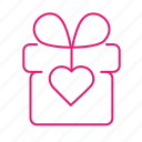 box, gift, heart, love, present, suprise, valentines icon