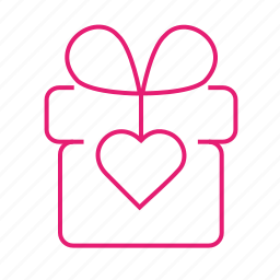 box, gift, heart, love, present, suprise, valentines icon