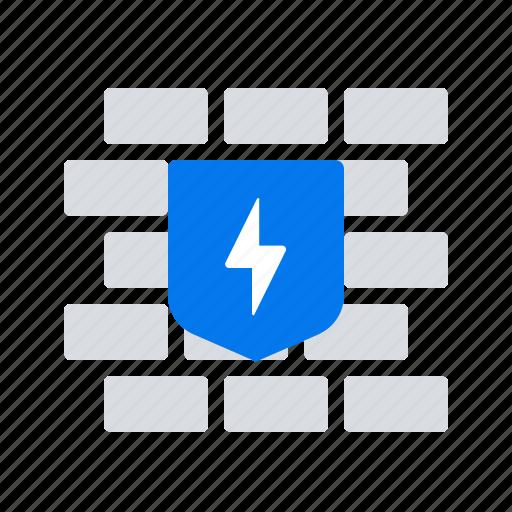 firewall, shield, wall icon