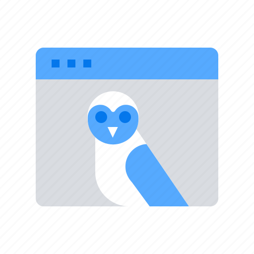 browser, online education, owl icon