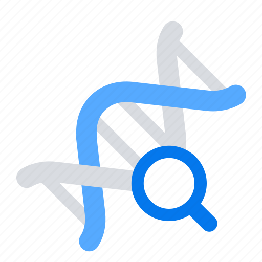biology, dna, genetics, magnifier icon