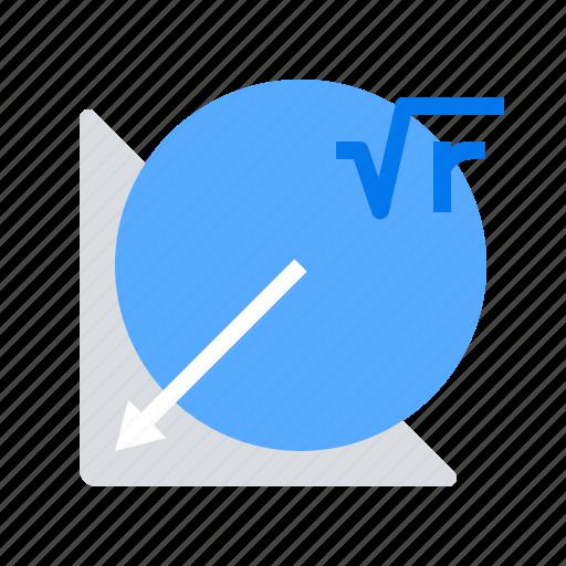 formula, geometry, objects, radius icon