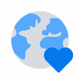 earth, favourite, heart, international, planet, travel, world icon