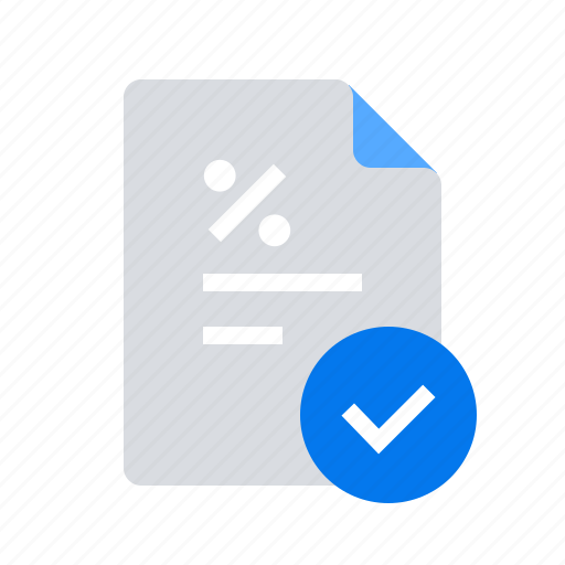 approved, checkmark, loan contract icon