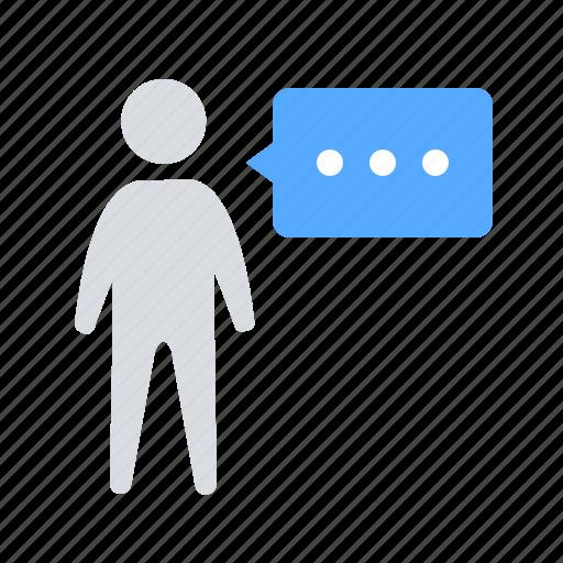 bubble, communication, man icon