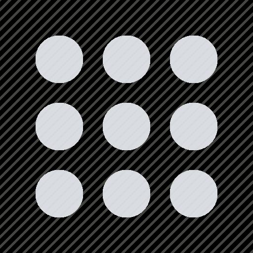 dots, menu, phone icon