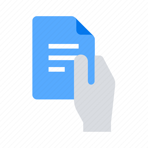 document, file, hand icon