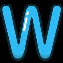 alphabet, blue, letter, upper, w icon