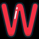 alphabet, letter, red, upper, w icon