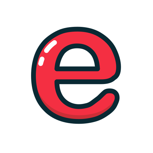e, letter, lowercase, red icon