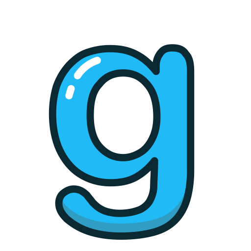 blue, g, letter, lowercase icon
