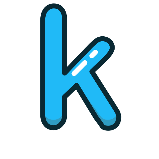 blue, k, letter, lowercase icon