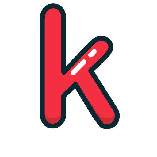 k, letter, lowercase, red icon