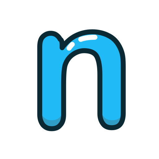 blue, letter, lowercase, n icon