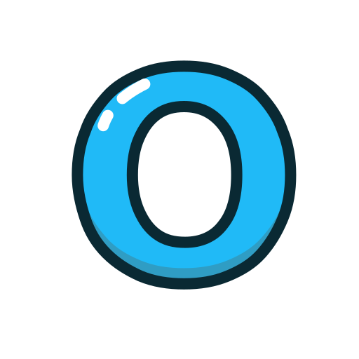 blue, letter, lowercase, o icon