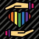 give, heart, love, rainbow icon