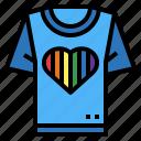 fashion, heart, rainbow, shirt, t icon